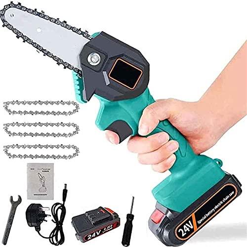 Mini scie électrique Mini-Scie électrique Portable sans Fil Chainsaw avec Chargeur et 1 Batteries 3 chaînes électriques élaguer