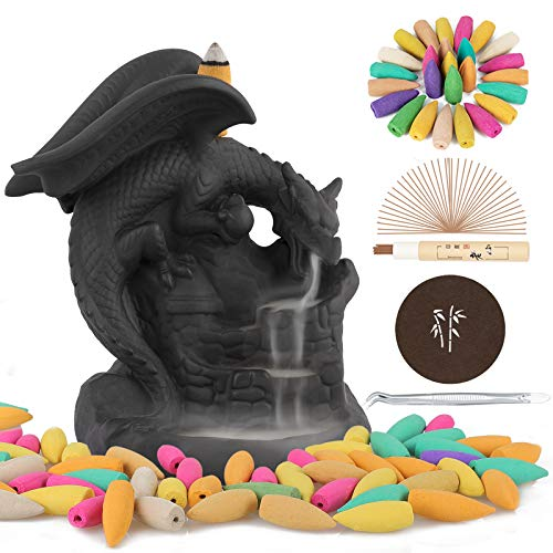 Lelifoyos Backflow Incense Burner Waterfall Dragon Incense Holder with 100 Backflow Incense Cones + 30 Incense Sticks + 1 Tweezer + 1 Mat