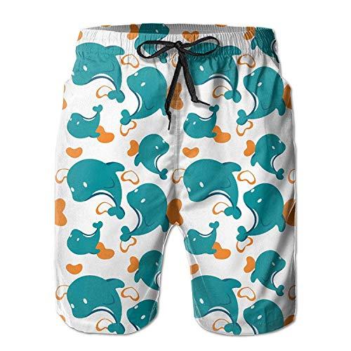 Mens Miami Dolphin Cartoon Cute Pattern Summer Quick-Drying Swim Trunks Beach Shorts Cargo Shorts Medium - XL