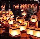 Diagtree 20 Pack Square Chinese Lanterns Wishing, Praying, Floating, River Paper Candle Light, Floating Lanterns for Lake or River, Floating Water Lanterns, Lanterns Floating 5.9' 5.9' 5.9'