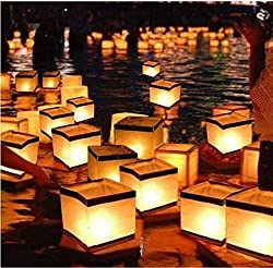 "Diagtree 20 Pack Square Chinese Lanterns Wishing, Praying, Floating, River Paper Candle Light, Floating Lanterns for Lake or River, Floating Water Lanterns, Lanterns Floating 5.9"" 5.9"" 5.9"""
