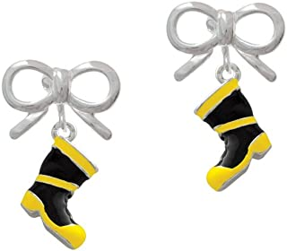 Silvertone Black and Yellow Firefighter Boot - Silvertone Layla Bow Clip on Earrings