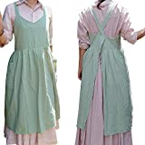 Amytalk Cotton Linen Cross Back Apron for Women with Pockets Cute Japanese Korean Style Pinafore Dress S Size (Light Green)
