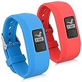 kwmobile Pulsera para Garmin Vivofit jr. / jr. 2 Talla S - Brazalete de Silicona en Rojo/Azul sin Fitness Tracker