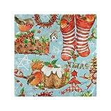 CaTaku, tovaglioli di carta a forma di uccellini di Natale, tovaglioli da cocktail per feste, casa, cucina, 50,8 x 50,8 cm Casual 20' x 20' Multicolore