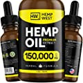 Hemp Oil 150000 MG for Pain & Anxiety Relief – Sleep Support – Organic Extra Strong Formula – Vegan-Friendly – Helps for Skin, Hair - Pure Extract from Hemp West