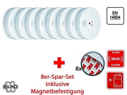 8er Set optischer Rauchmelder inkl. Magnethalter, EN 14604, 85dB, RM144C Set-8