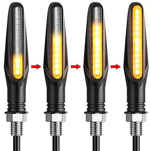 Justech 4pcs Indicateurs de Tournage Moto Clignotants 12V Feux Imperméable 12 LED Ampoules Universel pour Moto Scooter Quad Cruiser Bicyclette Moto Tout Terrain-Mode Flowing