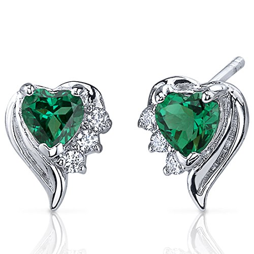 Peora 1.00 Carats Simulated Emerald Heart Shape Earrings Sterling Silver