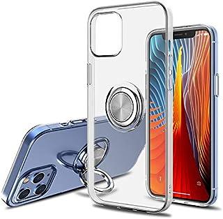 Soft Clear Case for iPhone 12/ iPhone 12 Pro, Slim Transparent TPU Cover, 360° Ring Kickstand, Anti-Scratch, Anti-Fingerpr...