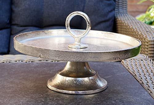 MichaelNoll Etagere Modern Dekoteller Schale - Servierplatte aus Metall Aluminium - Silber Luxus - Tischdeko Hochzeit 30 cm