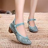 RHH Shop Bordado Mujer Mid Block Tacones de talón Bombas de Lona para Mujer Elegante Mujer algodón Zapatos Bordados (Color : Green, Size : 38 EU)