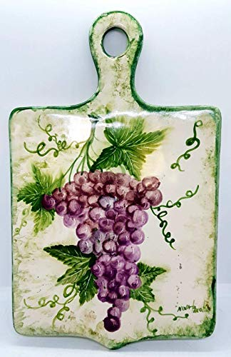 Sottopentola Tagliere Linea Uva Handmade Le Ceramiche del Castello Made in Italy Pezzo Unico Nina Palomba Dimensioni 34 x 21 cm.
