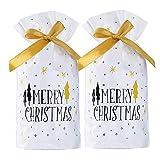 YXZQ 50PCS Weihnachtsbaum Kordelzug Geschenkbeutel Candy Sweet Bag mit Bändern für Weihnachten...