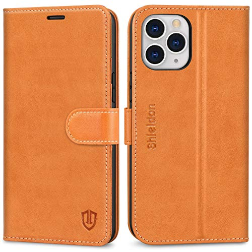 SHIELDON Case for iPhone 12 Pro Max, Genuine Leather RFID Blocking Wallet Case, Viewing Stand Card Holder, TPU Shockproof Protective Cover Compatible with iPhone 12 Pro Max 5G (6.7 2020) - Brown
