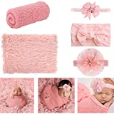 Newborn Photography Props, 4 PCS Baby Photo Props Long Ripple Wraps with Headbands, Pink Baby Photography Wrap Set for Baby Girl and Boy