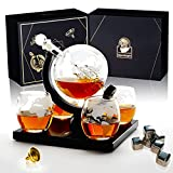LiquorKnight Globe Whiskey Decanter Set/Hand-Blown Lead-Free Glass/Wooden Stand/Liquor Dispenser Bar Set with 4 Glasses/Whiskey Stones & Funnel/Antique Glass Ship/Home Bar Accessories