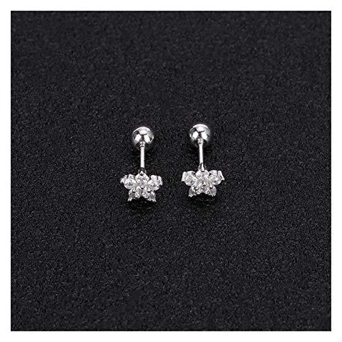 2 Unids Sweet Flower Shape Stud Pendientes Pequeño Piedra Linda Oreja para Mujer Niñas Piercing Fashion Gifts (Metal Color : Silver)