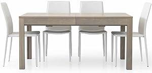 InHouse srls Tavolo Rovere Grigio con 4 allunghe da 43 cm, Stile Moderno, in MDF Laminato e Struttura in Acciaio - Mis. 160 x 90 x 75 Chiuso