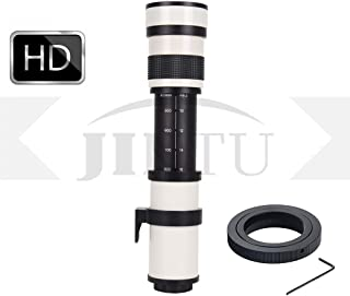 JINTU 420-800mm F/8.3 HD - Lente de Zoom de teleobjetivo Manual para cámara Digital Canon EOS EF DSLR con Bolsa de Transporte Color Blanco