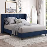 Einfach Queen Upholstered Wingback Platform Bed Frame with Headboard/Mattress Foundation with Wood Slat Support and Square Stitched Headboard/No Box Spring Needed/Easy Assembly, Dark Blue