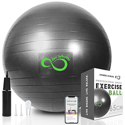 Live Infinitely Exercise Ball (55cm-95cm) Extra Thick Professional Grade Balance & Stability Ball- Anti Burst Tested Supports 2200lbs- Includes Hand Pump & Workout Guide Access (Grey, 75 cm)