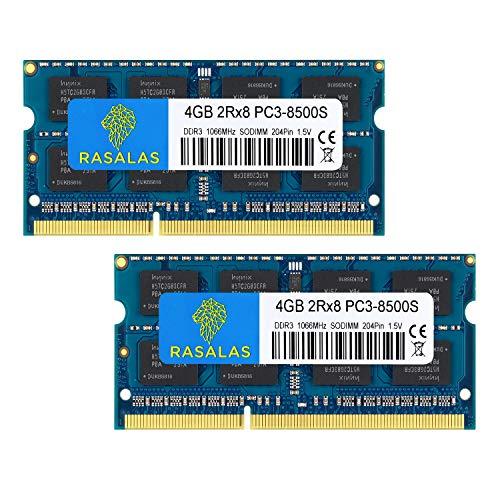 Rasalas PC3-8500 8GB Kit (2x4GB) DDR3 1066MHz Sodimm 2RX8 DDR3 1066 MHz PC3-8500S 1.5V CL7 Speicher für Laptop