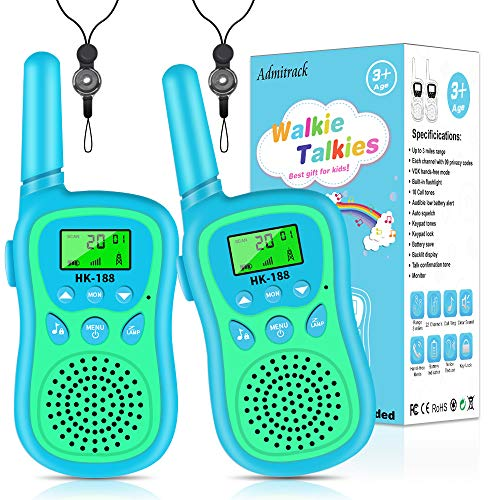Admitrack Walkie Talkies for Kids, Radio Toy & Handheld 3 Miles Long Range 22 Channel, Kids Toys Outdoor Adventure Camping Game Parent-Child Interaction Gift for Children