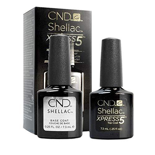 CND Shellac Xpress5Überlack & CND Shellac Unterlack (7,3ml/Flasche)–Professioneller Gel-Nagellack