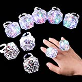 8 Pieces Flashing Led Light Up Ring Toys Light Up Ring Diamond Flashing Plastic Diamond Rings in The Dark Light Up Party Favors for Birthday, Concert or Other Party