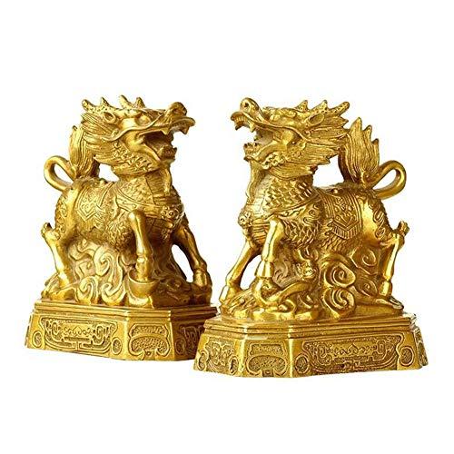 YHDP Estatuilla de la suerte de Kirin, estatuilla de la suerte de la riqueza, Feng Shui latón estatua decoración regalo