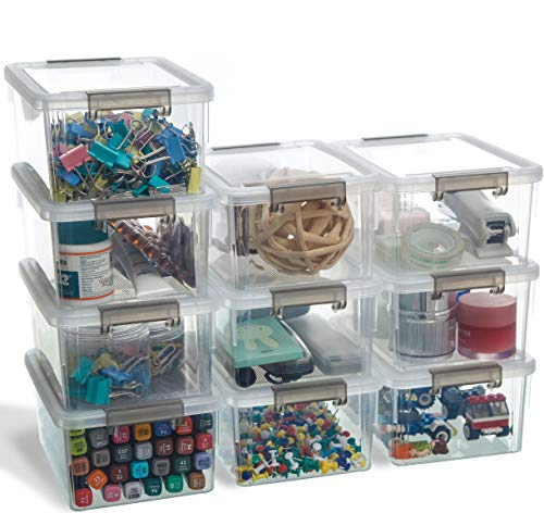 Citylife Lot de 10 petites boîtes de rangement avec couvercle, poignée empilable, clips, petites pièces, 10 × 1,25 l.