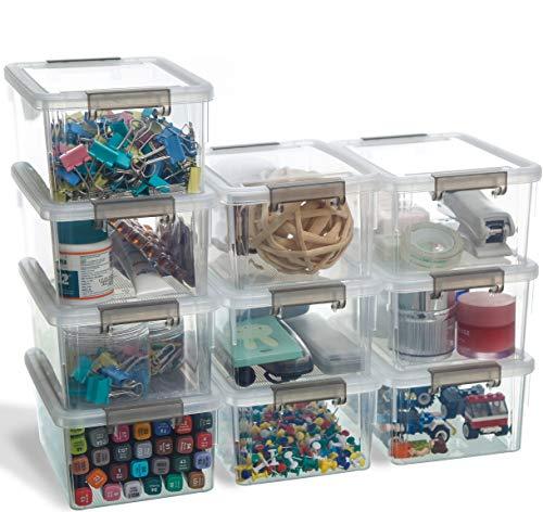 Citylife 10er-Set Aufbewahrung Klein Aufbewahrungsbox mit Deckel Stapelbar Griff Clips Kleinteile 10×1.25 L