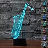 3D Illusion El Saxofón Lámpara luces de la noche ajustable 7 colores LED Creative Interruptor táctil estéreo visual atmósfera mesa regalo para Navidad