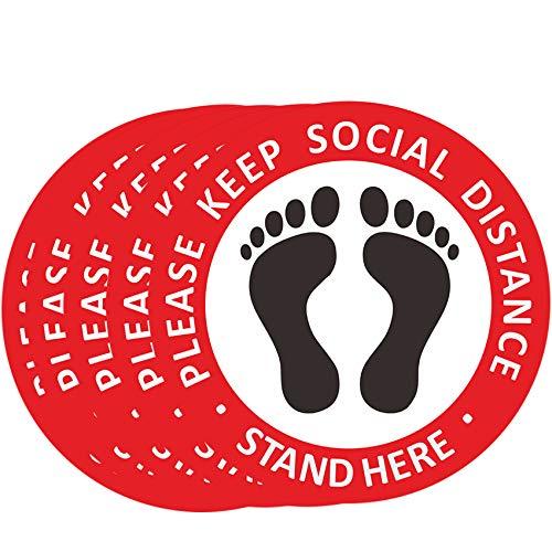 """Rpanle 10 piezas 12"""" Distanciamiento social Calcomanías de suelo, 6 pies Stand Here Please Keep Your Social Distance Calcomanías de suelo, Fácil instalación, forma redonda"""