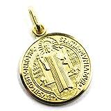 Colgante medalla San Benito diámetro 2,1 cm oro amarillo 750 18 quilates con cruz sólida, muy detallada