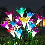 Solarlampen für Außen Garten 2 Stück, Emeritpro IP65 Wasserdichte Solar Gartenleuchte mit 8 Lily Blumen, Solar Gartenlampe für Terrasse, Rasen, Gartendekoration