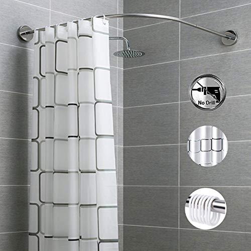 CRGL Gebogene Duschstange Aus Gebürstetem Nickel Verstellbare L-förmige, Ausziehbare Spannstange Rostfreie Duschvorhangstangenschiene Aus Metall Für Badezimmer,70 to 95cm × 70 to 95cm
