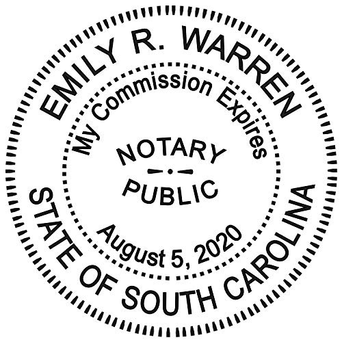 Round Notary Stamp for State of South Carolina- Self Inking Stamp - Top Brand Unit with Bottom Locking Cover for Longer Lasting Stamp - 5 Year Warranty