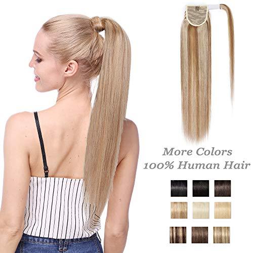 Extension Queue de Cheval Naturel Rajout Vrai Cheveux Humain Postiche Femme Ponytail 100% HUMAN HAIR 18 Pouces (45cm) - #12+613 Marron Clair Méché Blond Blanchi