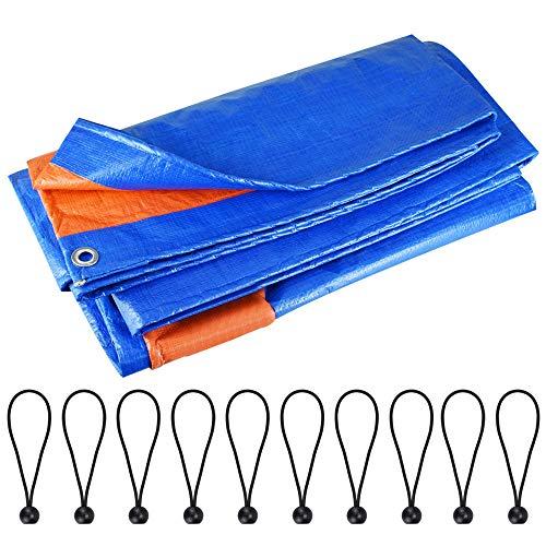 LYTIVAGEN Lona Impermeable Exterior Lona de Protección Lona de Plástico Lona Alquitranada con Ojales y 10 Cuerdas Elásticas para Barco, Muebles de Jardín, Cámping, Leña (2 x 3 m, Azul)