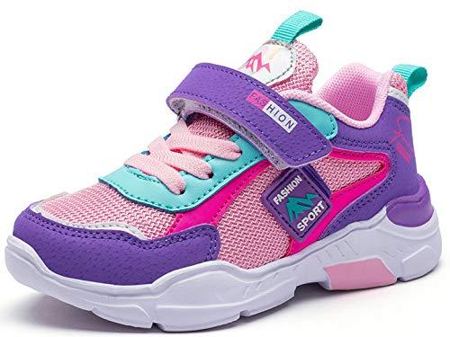 Zapatillas de Niñas 26 Zapatillas de Correr Niños Deportivas Zapatos de Running Niño Ligeras Zapatos de Walking Niña Transpirable Sneakers Baloncesto Zapatillas y Calzado Deportivo 6586-Rosa