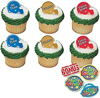 Football Helmet Cupcake Toppers and Bonus Birthday Ring - 25 piece