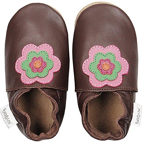 Bobux Chausson Cuir Souple Bébé, Chaussures Bebe, Pantoufle Bebe, Chocolate Flower Power, 22 EU