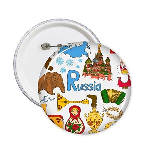 DIYthinker Rusia Paisaje de Aduanas Landmark Animales Nacional de la Dieta Residente bandera Ilustración Modelo redondo Insignia del Pin 5 x Botón SG