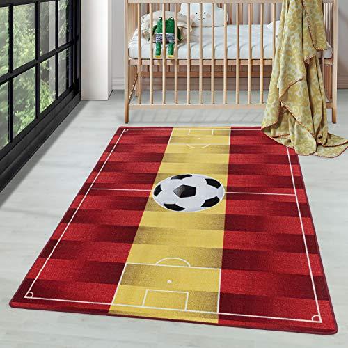 Carpettex Teppich Tapis à Poils Courts Tapis de Enfants Motif de Football Espagne Jaune, Couleur:Jaune, Dimension:160x230 cm