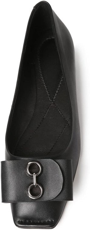 QXH Damenschuhe Sandalen Flachen Mund Quadratischen Quadratischen Quadratischen Kopf Wohnungen Leder  c00f67