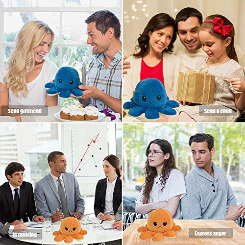 Cute Octopus Doll Double-Sided Flip Octopus Plush Toy,Soft Reversible Octopus Stuffed Animals Doll,Colorful Creative Toy Gifts for Kids Family Friends (1Pcs,Black+Blue)