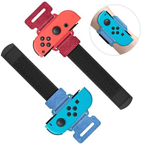 MENEEA Armbänder für Just Dance 2021 2020 2019 für Nintendo Switch Sportspiel, Verstellbarer Elastischer Gurt für JoyCon Controller, Zwei Größen für Erwachsene und Kinder, 2er-Pack (Rot und Blau)