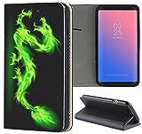 Samsung Galaxy S3 / S3 Neo Hülle Premium Smart Einseitig Flipcover Hülle Samsung S3 Neo Flip Hülle Handyhülle Samsung S3 Motiv (301 Drache Dragon Schwarz Grün)